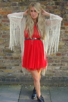 nude fringed Topshop jacket - red Primark dress
