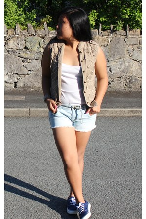 denim Primark shorts - Primark sneakers - tank top top - Fossil watch - vest