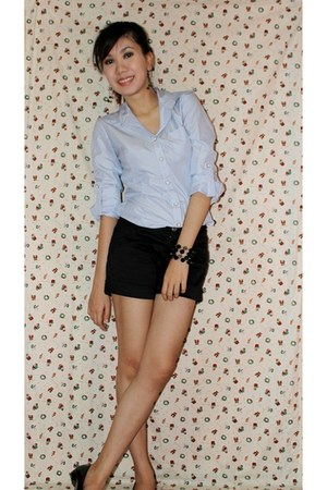 black monet collection shoes - black gmarket shorts - blue romwe top