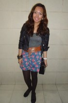 periwinkle floral thrifted skirt - black faux leather bangkok jacket