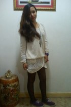 cream used as a skirt Japan cardigan - cream knitted Japan sweater