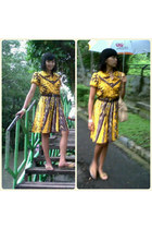 yellow batik dress - mustard Yongki Komaladi sandals
