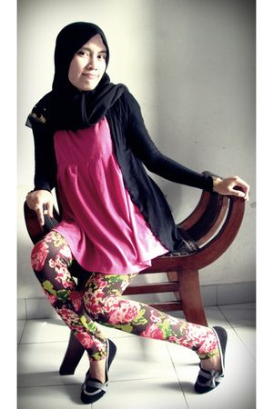 black no brand cardigan - pink post local clothing blouse - brown mayonnaise leg