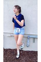 blue crochet Forever 21 vest - white wingtip Candies shoes