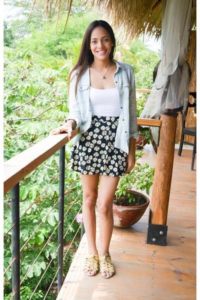 black Forever 21 skirt - white Forever 21 top - sky blue Forever 21 top
