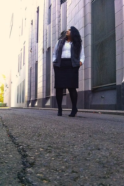 black Nordstrom tights - white Target shirt - charcoal gray thrifted vest