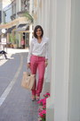Off-white-zara-blouse-bubble-gum-zara-pants