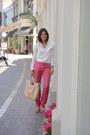 Off-white-zara-blouse-bubble-gum-zara-pants