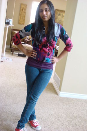 pink Express cardigan - pink Converse shoes - blue PacSun jeans