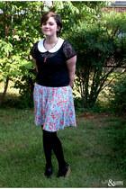 black Chelsea Crew wedges - periwinkle Forever 21 skirt