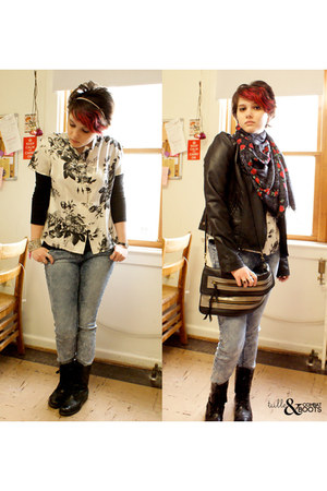 black boots - blue BDG jeans - black Forever 21 jacket - ruby red Urban Outfitte