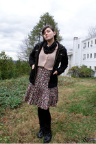 maroon swapped skirt - black boots - black BB Dakota jacket