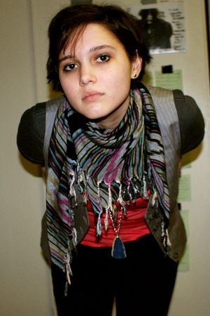 red Divided by H&M shirt - gray Gap vest - purple scarf - gray band t-shirt shir