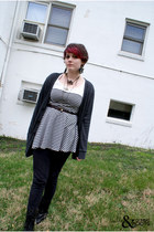 dark gray American Apparel cardigan - black American Apparel skirt - black Insig