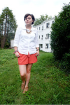coral Miss Selfridge shorts - white Old Navy blouse - brown Mia sandals