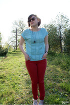light blue Jason Wu for Target blouse - red Forever 21 jeans