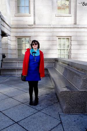 blue ann taylor dress - black Anthropologie boots - red BB Dakota jacket