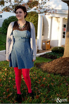 blue Pins & Needles dress - hot pink H&M tights - black Madden Girl wedges