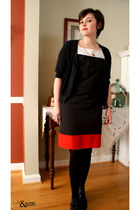 black thrifted boots - black vintage calvin klein dress - black Delias sweater -