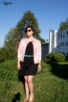 pink Shellys Of London shoes - black made by me dress - pink vintage jacket