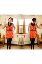 red Kimchi Blue dress - black Urban Outfitters scarf - heather gray Old Navy car