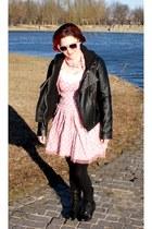 black boots - bubble gum dress - black Forever 21 jacket - pink scarf - hot pink