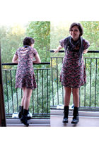 black boots - pink Primark dress - purple alloy scarf - red handmade earrings