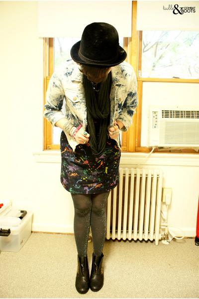 black Miss Me boots - navy dress - black vintage hat - sky blue BDG jacket