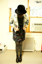 black Miss Me boots - navy dress - black vintage hat - sky blue BDG jacket