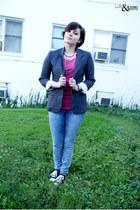 maroon DIY shirt - blue BDG jeans - gray BDG blazer