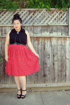 black shirt - red polka dots skirt - black belt - black heels