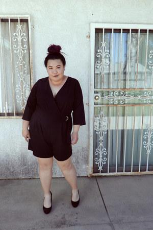 black romper - black heels