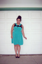 aquamarine dress - black heels