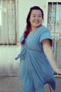 Sky-blue-dress-black-heels