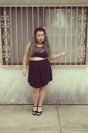 black bra - black skirt - navy heels