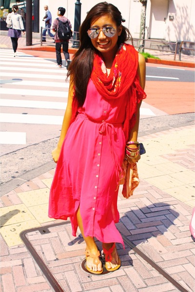hot pink maxi dress Forever 21 dress - red Forever 21 scarf
