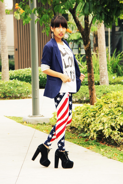 navy H&M blazer - red INDIE-GO leggings - white Forever21 top
