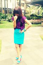 aquamarine pencil skirt H&M skirt - sky blue peep-toes Primadonna heels