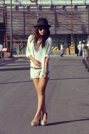 ivory H&M top - white sheer polo INDIE-GO top - sky blue Japanese brand shorts