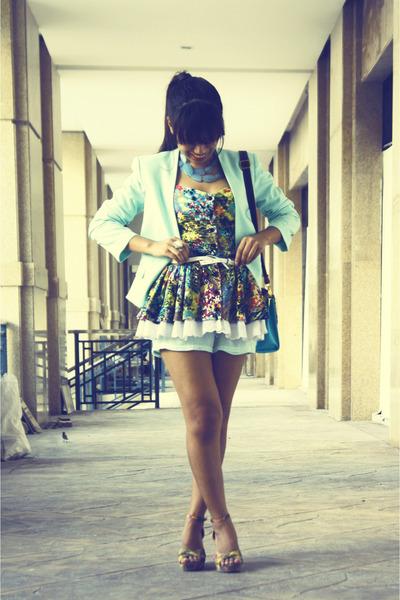 chartreuse peplum Runway Dreams top - turquoise blue H&M blazer