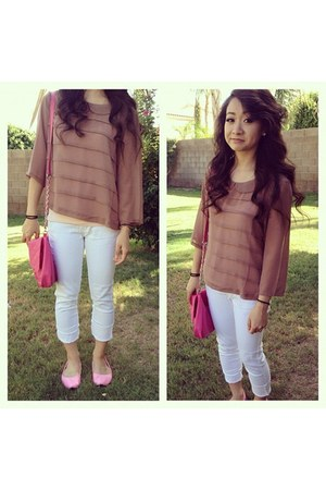 white white jeans - bubble gum crossbody bag - tan sheer Forever 21 blouse