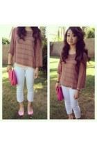 white white jeans - bubble gum crossbody bag - tan sheer Forever 21 blouse