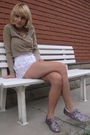 Silver-anniel-shoes-white-american-apparel-shorts-brown-guess-cardigan-bei