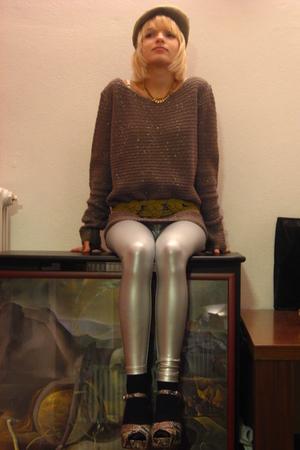 brown Zara sweater - green ANGELO belt - silver American Apparel leggings - brow