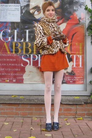brown celyn b jacket - blue D&G shoes - white Calzedonia tights - orange ANGELO