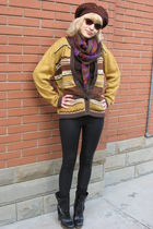 black Miss Sixty boots - black imperial leggings - gold cardigan - brown hat - b