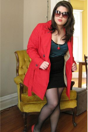 red Old Navy coat - blue Forever 21 dress - red Forever 21 necklace - Forever 21