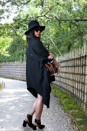 asos cape - Zara boots - Forever 21 hat - vintage Dooney & Bourke bag