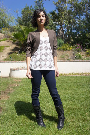 metallic top - brown Forever 21 cardigan