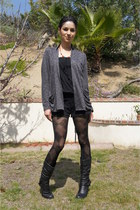 black Aldo boots - argyle Forever 21 tights - gray cardigan - black Forever 21 r